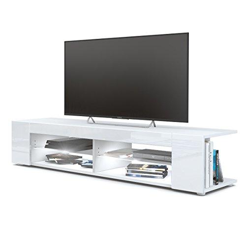 TV Board Lowboard Movie, Korpus in Weiß matt / Fronten in Weiß Hochglanz inkl. LED Beleuchtung in Weiß