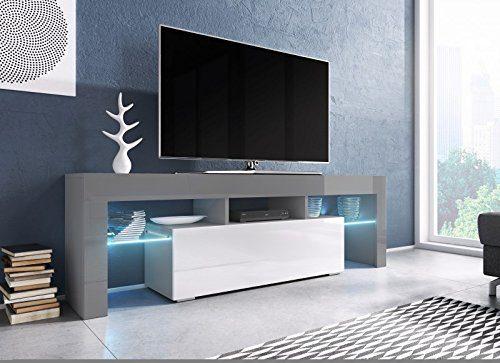 TV Board 'Soro' Hochglanz Lowboard Cube Matt Hifi Fernseherschrank mit LED, Farbe:grau matt / weiß Hochglanz