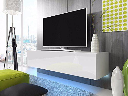 TV Schrank Lowboard Hängeboard SIMPLE mit LED Blau (Weiß Matt / Weiß Hochglanz 160 cm)