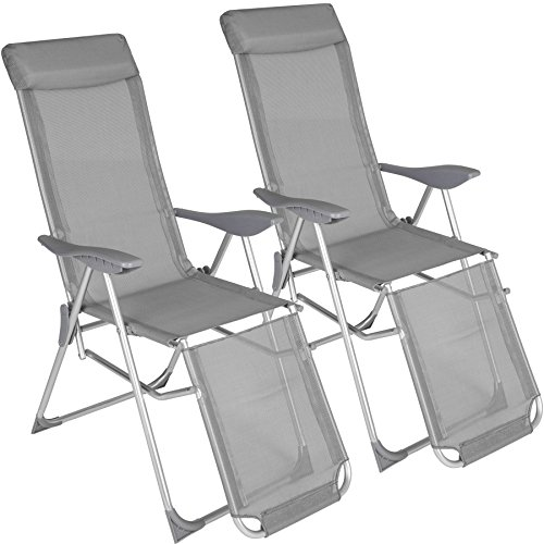 TecTake 2x Aluminium Liegestuhl | abnehmbares Kopfpolster | klappbar | verstellbare Rückenlehne und Fußteil