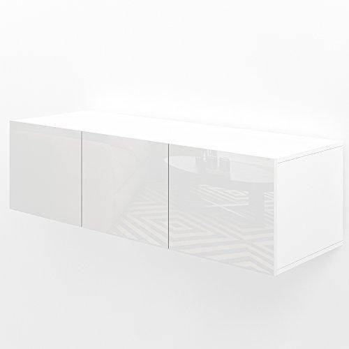 VICCO TV Lowboard Sideboard Wandschrank Fernsehschrank Wohnwand Hängeschrank (Weiß Hochglanz, 120cm)