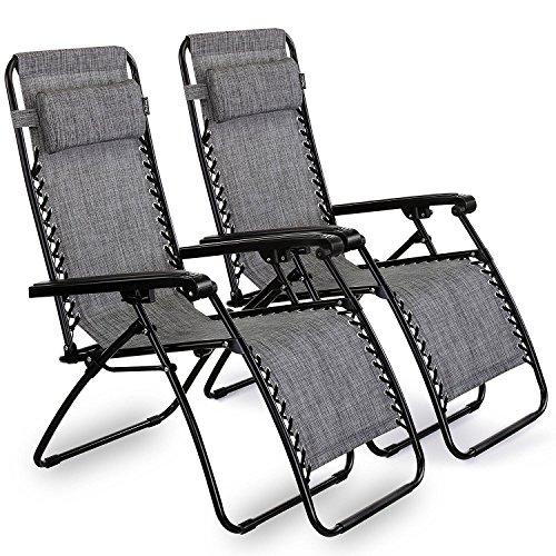 VonHaus 2 Gartenstühle / Klappstühle Hochlehner - – Klappbare Sonnenliegen mit Lehne und Kopfkissen aus Stahlrahmen und Textoline - ideal für Terrasse, Wintergarten, Garten
