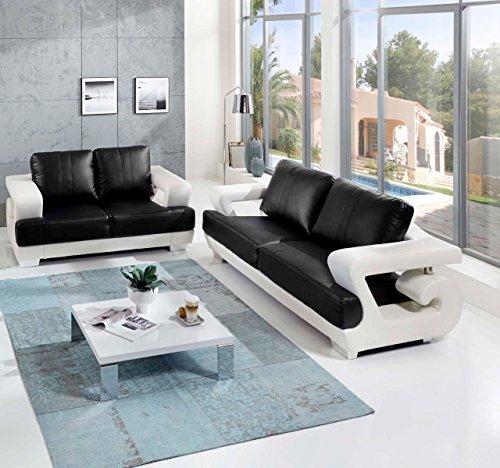 sam 2tlg sofa garnitur antonio couchgarnitur 3 sitzer und 2 sitzer in wei schwarz mit. Black Bedroom Furniture Sets. Home Design Ideas