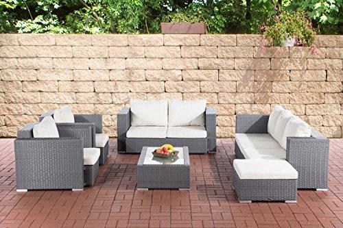 CLP Gartengarnitur PROVENCE   Sitzgruppe mit 7 Sitzplätzen   Gartenmöbel-Set aus Polyrattan   In verschiedenen Farben erhältlich Grau, Bezugsfarbe: Cremeweiß