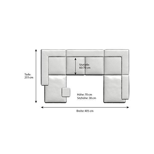 Wohn-Landschaft XXL mit Kunstleder Bezug 405x255 cm U-Form schwarz   Leesha   Moderne Sofa-Garnitur mit 2 Recamieren   XXL-Couch für Wohnzimmer schwarz 405cm x 255cm