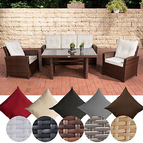 CLP Garten-Garnitur FISOLO, Poly-Rattan & Aluminium, 20 FARB-Varianten (3er Sofa, 2 Sessel + Tisch 140 x 80 cm) Rattan braun-meliert, Bezugfarbe cremeweiß