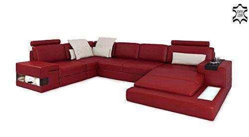 Sofa Couch Leder rot / weiß U-Form Wohnlandschaft Ledersofa Ledercouch Eckcouch mit LED-Licht Beleuchtung Designsofa HAMBURG