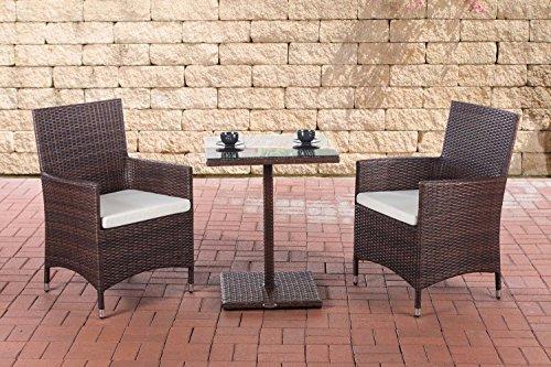 CLP Garten-Sitzgruppe PALERMO aus Polyrattan   Robuste Gartengarnitur mit Aluminiumgestell   Garten-Set bestehend aus 2 Stühlen und einem Tisch   In verschiedenen Farben erhältlich Braun Meliert, Bezugsfarbe: Cremeweiß