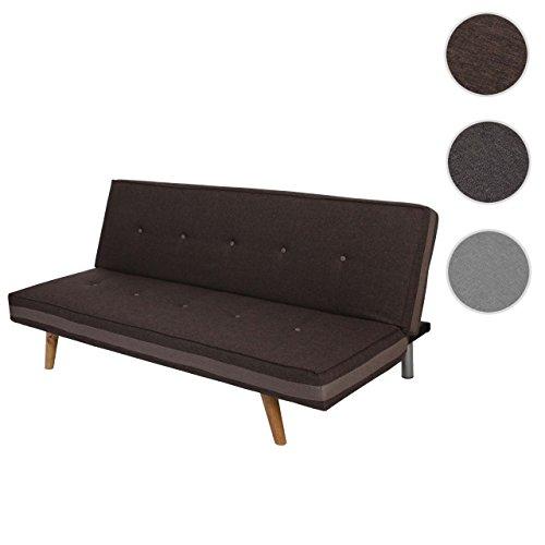 Mendler 3er-Sofa Herstal, Couch Schlafsofa Gästebett Bettsofa ~ Textil, braun