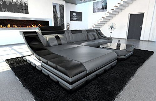 Ledersofa Turino L Form grau-schwarz