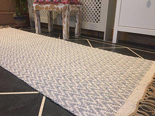 Pale Grau Natur Fischgrätenmuster Baumwolle Garn Läufer Teppich 70cm x 200cm