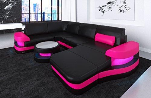 Leder Wohnlandschaft Modena U Form schwarz-pink