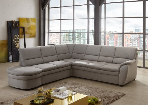 Cavadore Ecksofa Gingle / Sofa mit Federkern, Schlaffunktion und hochwertigem Mikrofaser-Bezug in Wildlederoptik / Klassisches Design / Größe: 260 x 89 x 240 cm (BxHxT) / Farbe: Grau