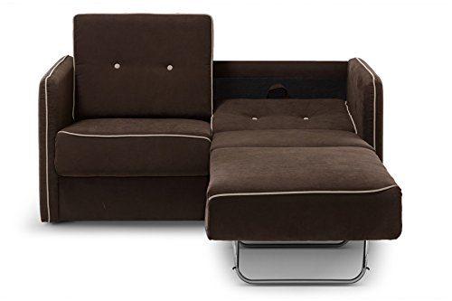 Moebella® Schlafsofa Merina Grau Blau Weiß Mikrofaser Stoff Sofa Couch Schlafcouch mit Federkern Bettfunktion (Braun)