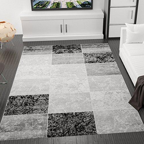 Designer Teppich Modern Kariert, Marmor Muster, Meliert in Grau Schwarz Weiss - ÖKO TEX Zertifiziert, VIMODA; Maße:160x230 cm