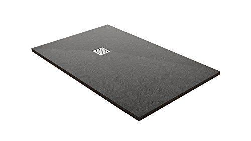 résidouche 14212Duschtasse flach Steinoptik, schwarz, 100x 120x 3,2cm