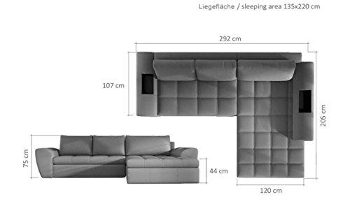 JUSTyou LA COSTA Ecksofa Eckcouch mit Bettkasten SchlafcouchKunstleder (BxLxH): 205x292x75 cm Weiß