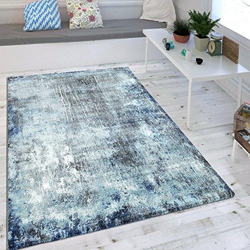 Wohnzimmer Teppich Indigo Blau Trend Modern Maritimer Stil Shabby Chic Design, Grösse:80x150 cm