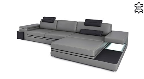 ledercouch ledersofa l form grau schwarz filippo iii m bel24. Black Bedroom Furniture Sets. Home Design Ideas