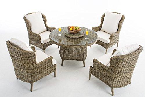 CLP Polyrattan-Sitzgruppe JARDIN   Gartengarnitur bestehend aus vier Sesseln und einem Tisch   In verschiedenen Farben erhältlich Bezugfarbe: Cremeweiß, Rattan Farbe natura