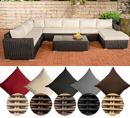 CLP Gartengarnitur TESSERA schwarz aus Polyrattan (6 Sitzplätze) Premiumqualität (5 mm Rund-Rattan) inkl. Polstern & Kissen schwarz, Bezugfarbe creme