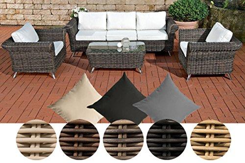 CLP Gartengarnitur VIVARI aus Polyrattan | Robuste Gartengarnitur mit Aluminiumgestell | 4 teiliges Garten-Set | In verschiedenen Farben erhältlich Rattanfarbe: Grau-meliert, Bezugfarbe: Anthrazit