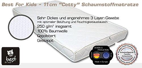 Best For Kids M7878 Matratze 70 x 140 x 11 cm TÜV ZERTIFIKAT 100% Baumwolle Gesteppte und Weiche Kinder-Rollmatratze Kindermatratze