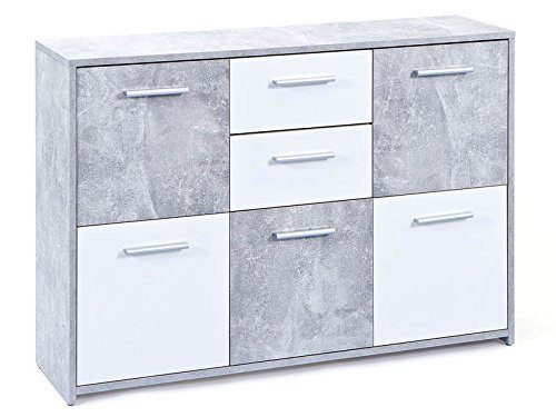 Inter Link 19703020 Kommode, melaminharzbeschichtete Flachpressplatte, weiß betondekor, 115 x 30 x 77 cm