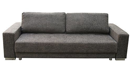 1A 3-er Schlafsofa Polster Couch mit Bettfunktion Federkern braun-grau