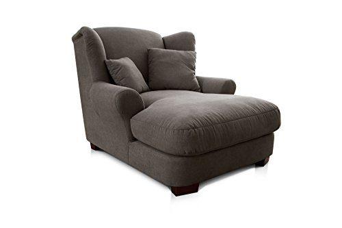 Cavadore 2198824 XXL-Sessel / Dunkelgrauer Polstersessel mit Massivholzfüßen, großer Sitzfläche, Polsterung und 2 weichen Zierkissen / 120 x 99 x 145 cm (BxHxT)