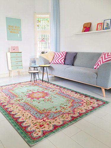 Rozenkelim.nl Neuer Teppich | im angesagten Shabby Chic Look | für Wohnzimmer, Schlafzimmer, Kindergarten | Pastell (275 cm x176 cm)