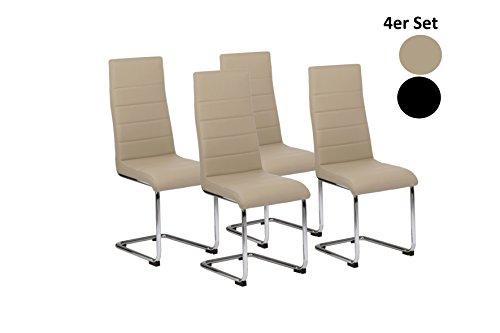 CAVADORE Küchenstuhl im 4-er Set GABY/4x Freischwinger in modernem Design/Bezug pflegeleichtes Kunstleder in Cappuccino und verchromtem Metallgestell/56 x 44 x 105 cm (T x B x H)