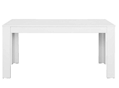 CAVADORE Tisch NICK/Moderner Esstisch 140 cm/Küchentisch aus Melamin Weiß/praktischer Esszimmertisch in weiß/Resistent gegen Schmutz/140 x 80 x 75 cm (L x B x H)