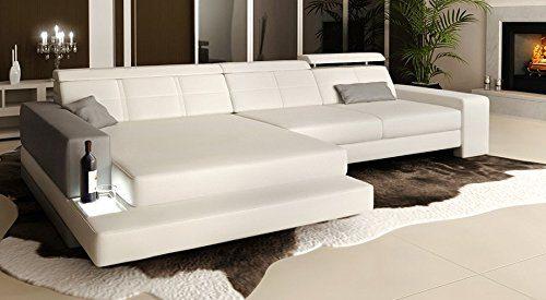Ledersofa weiß / grau Wohnlandschaft Leder Ecksofa Ledercouch Sofa Couch L-Form mit LED-Licht Beleuchtung Designsofa IMOLA III