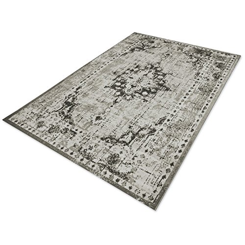 casa pura® Vintage Teppich   viele Größen   im angesagten Shabby Chic Look   für Wohnzimmer, Schlafzimmer, Flur etc.   grau (120x170 cm)