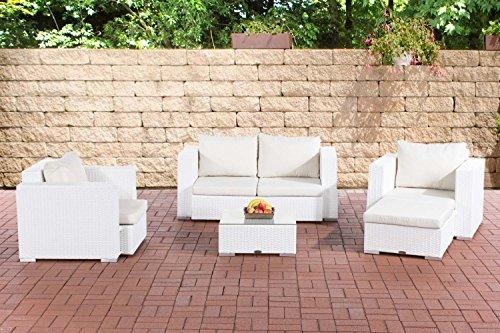 CLP Gartengarnitur Sunset   Sitzgruppe mit 4 Sitzplätzen   Gartenmöbel-Set aus Polyrattan   In verschiedenen Farben erhältlich Weiß, Bezugsfarbe: cremeweiß