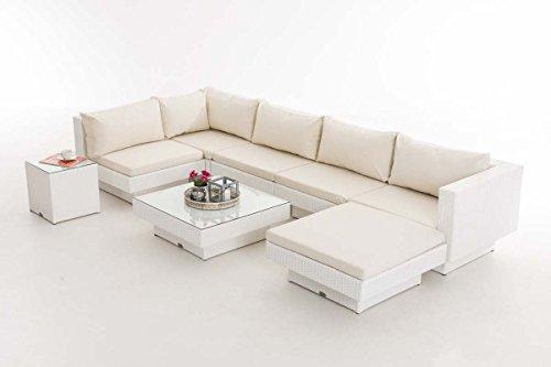 CLP Polyrattan-Gartenlounge TUNIS   Garten-Set mit 6 Sitzplätzen   Komplett-Set bestehend aus 1 Loungesofa, 1 Fußablage, 1 Glastisch, 1 Beistelltisch   In verschiedenen Farben erhältlich Rattanfarbe: Weiß, Bezugfarbe: Cremeweiß