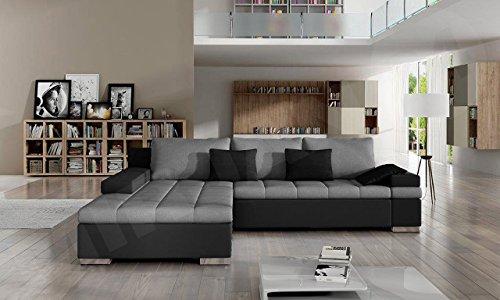 Design Ecksofa Bangkok, Moderne Eckcouch mit Schlaffunktion und Bettkasten, Ecksofa für Wohnzimmer, Gästezimmer, Couch L-Form, Wohnlandschaft, (Ecksofa Links, Soft 011 + Casablanca 2314 + Casablanca 2316)