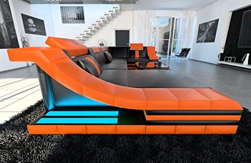 Leder Wohnlandschaft Turino U Form schwarz-orange