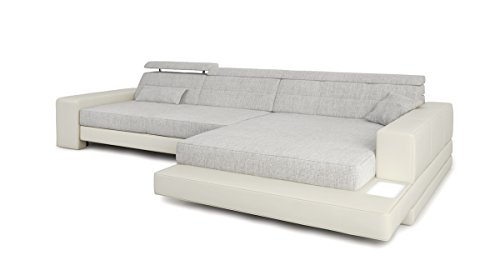Ecksofa Couch L-Form weiß / grau platin Leder ...