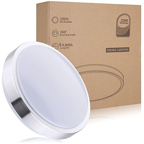 Wasserfest 12W LED Deckenleuchte IP44,ersetzt 100W Glühbirne led Deckenlampe,1050 lm, weiß(4000K),Ø 26cm Wohnzimmerlampe Schlafzimmerleuchte , ideal für Balkon Flur Küche Wohnzimmer