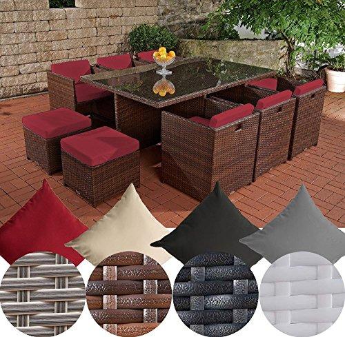 CLP XXL Polyrattan-Sitzgruppe MAUI | Gartengarnitur bestehend aus 6 Sesseln, 4 Hockern und einem Esstisch | Sitzgruppe für 10 Personen | In verschiedenen Farben erhältlich Rattan: braun-meliert | Bezüge: Rubinrot