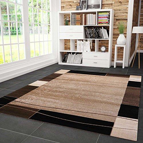 VIMODA Teppich Kariert Retro Muster Meliert in Braun Schlafzimmer Wohnzimmer - ÖKO TEX Zertifiziert, Maße:160x230 cm