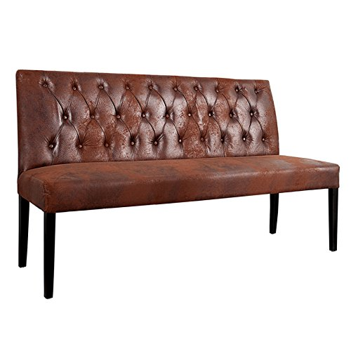 Sitzbank OXFORD hohe Rückenlehne mit Knöpfen Mikrofaser antik braun 165cm englischer Stil