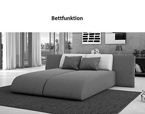 Wohn-Landschaft mit Schlaffunktion in schwarz 310x212 cm U-Form   Lavia-U   Sofa-Garnitur aus Kunstleder mit 2 Recamieren   Couch ausziehbar für Wohnzimmer schwarz 310cm x 212cm