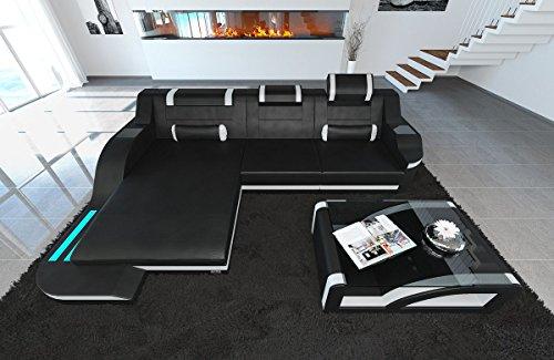 Ledersofa Palermo L Form schwarz-weiss