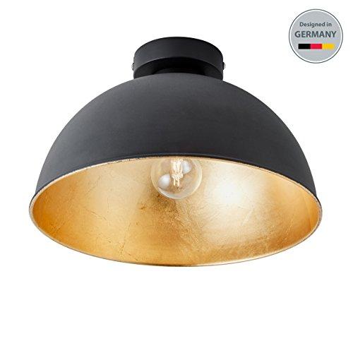 B.K.Licht Design Industrielle Vintage LED Deckenleuchte Φ 30cm exkl. E27 Leuchtmittel, schwarz für Wohnzimmer Esszimmer Restaurant