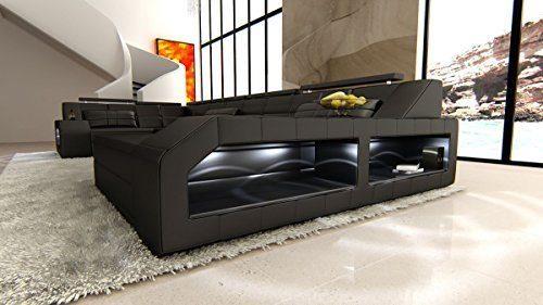 Leder Wohnlandschaft Arezzo U Form schwarz-schwarz Sofa Ledersofa Couch Ledercouch Ecksofa LED Licht Kopfstützen Designersofa