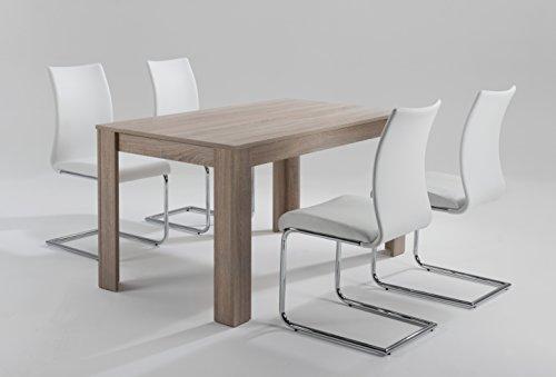 CAVADORE Tisch NICK/Moderner Esstisch 120 cm/Küchentisch aus Melamin Sonoma Eiche/praktischer Esszimmertisch in hellbraun/Resistent gegen Schmutz/120 x 80 x 75 cm (L x B x H)