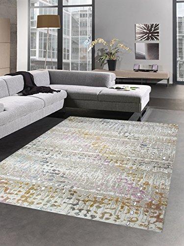 Carpetia Moderner Teppich Kurzflor Teppich Wohnzimmerteppich grau bunt senfgel türkis Größe 200 x 290 cm